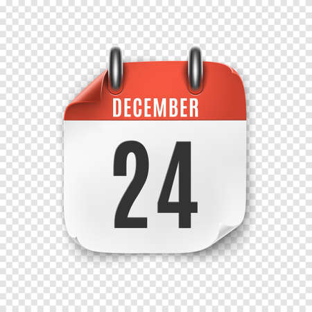 December 24 realistic calendar icon template. Christmas Eve.