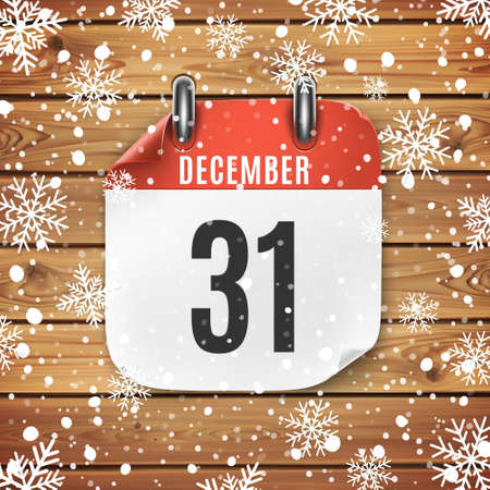December 31 calendar icon on wooden background with snow and snowflakes. Ilustrace