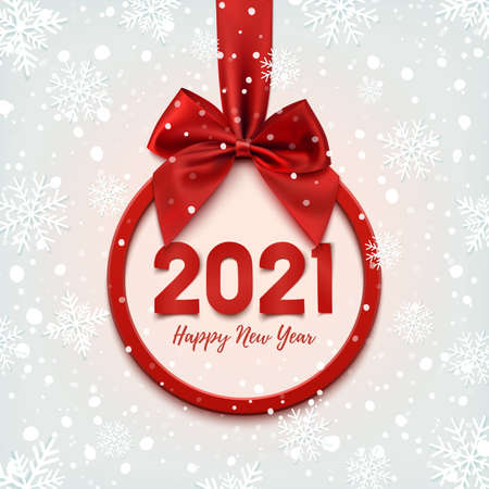 Happy New Year 2021 round banner with red ribbon and bow, on winter background.