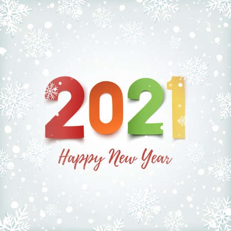 Happy New Year 2021. Winter background with snow and snowflakes.