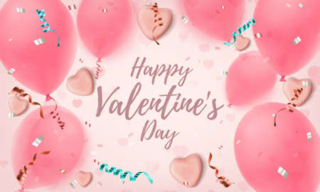Happy Valentines Day background. Abstract pink greeting card template with candy hearts, balloons, konfetti and ribbons.