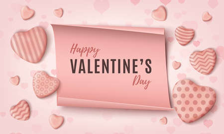 Happy Valentines Day background template with pink realistic candy hearts and paper banner.