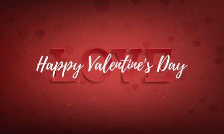 Happy Valentines Day greeting card on red background fith hearts. Poster, banner, brochure or flyer template.