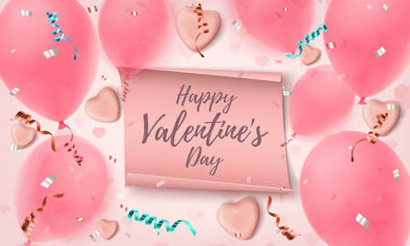 Happy Valentines Day greeting card template. Abstract pink background. Illusztráció