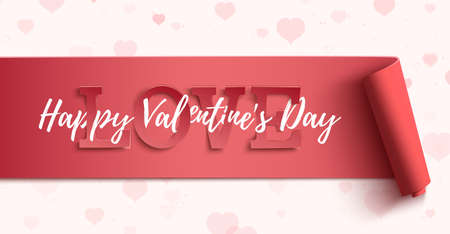 Happy Valentines Day horizontal banner on background with pink hearts.