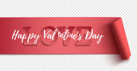 Happy Valentines Day horizontal banner template. Poster, background or greeting card.