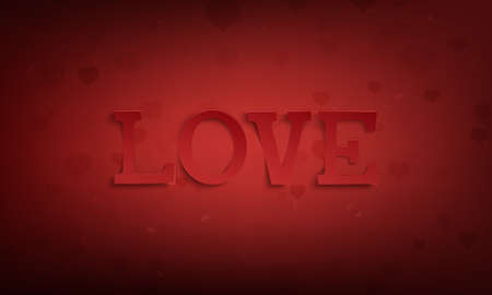 Love. Abstract Valentines Day greeting card template on red background fith hearts.