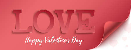 Love Happy Valentines Day greeting card template. Horizontal banner, background or broshure.