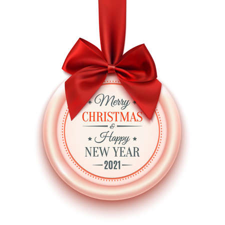 Merry christmas and Happy New Year 2021 badge isolated on white.