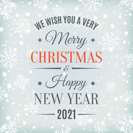 Merry Christmas and Happy New Year 2021 text label.