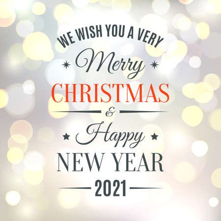 Merry Christmas and Happy New Year 2021 typographic design.