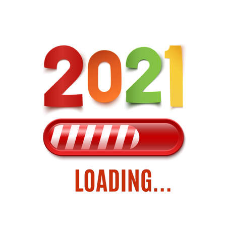 New year 2021 loading bar isolated on white background. Vector illustration.