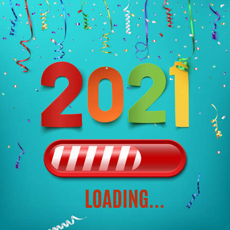 New year 2021 loading bar on celebrating backgroun with ribbons and confetti.