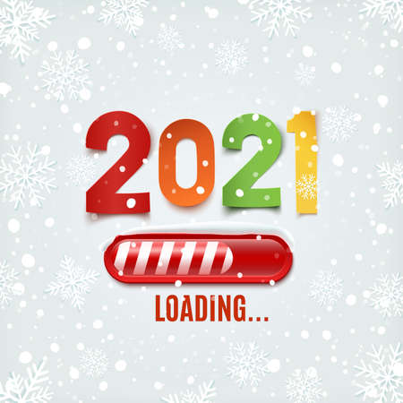 New year 2021 loading bar on winter background.