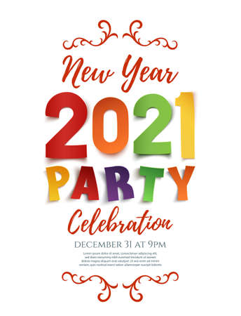 New Year 2021 party poster template isolated on white background. Illusztráció