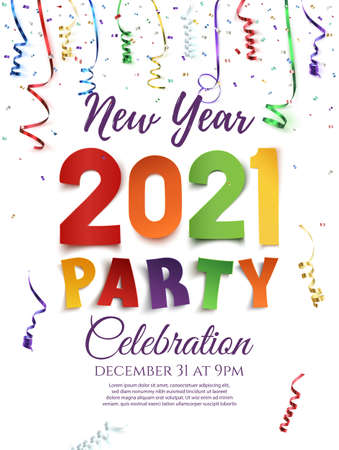 New Year 2021 party poster template with confetti and colorful ribbons. Illusztráció