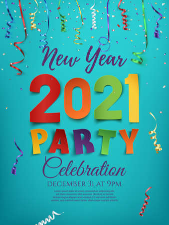 New Year 2021 party poster template with confetti and colorful ribbons on blue background.