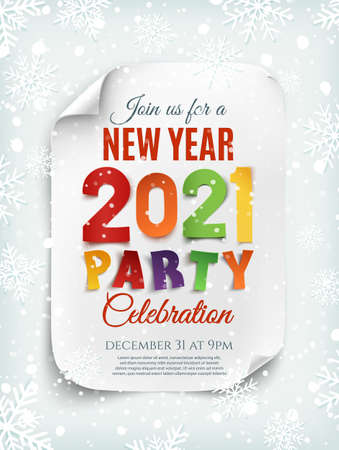 New Year 2021 party poster template with snow and snowflakes.