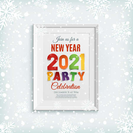 New Year 2021 party poster picture frame template.