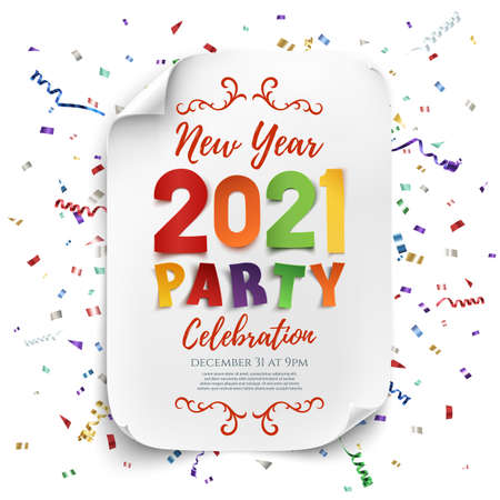 New Year 2021 party poster template with confetti and colorful ribbons. Stock fotó
