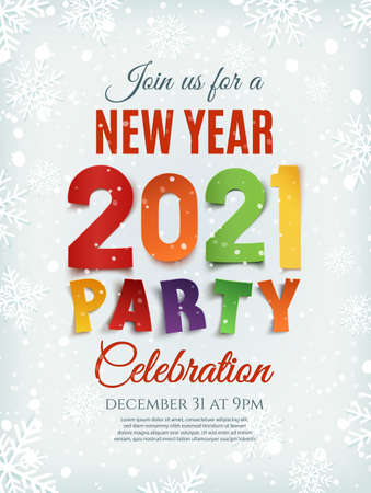 New Year party 2021 poster template with snow and snowflakes. Illusztráció
