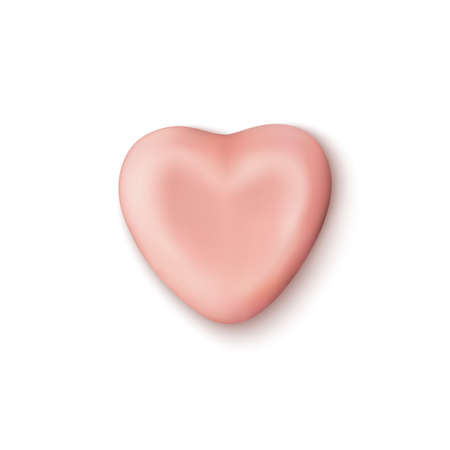 Realistic abstract pink candy heart icon isolated on white background. Illusztráció