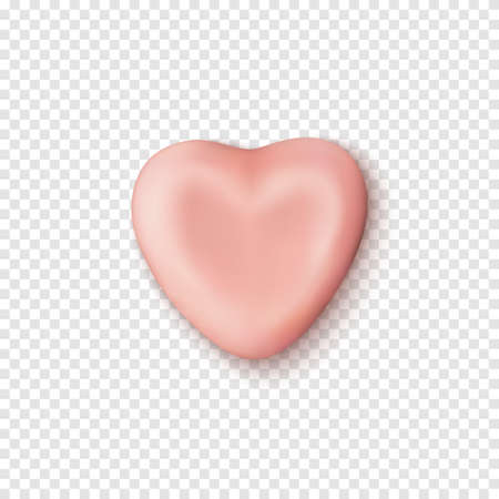 Realistic abstract pink candy heart icon template.