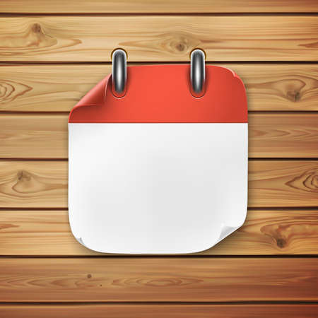 Realistic calendar icon on wooden background. Vector illustration.