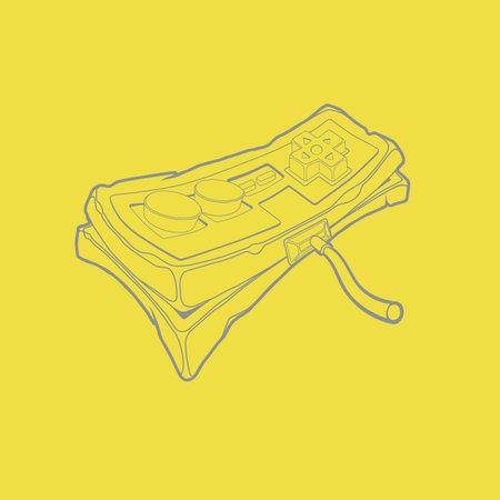 Simple outline grey joypad icon on yellow trendy background. Classic retro gempad icon.