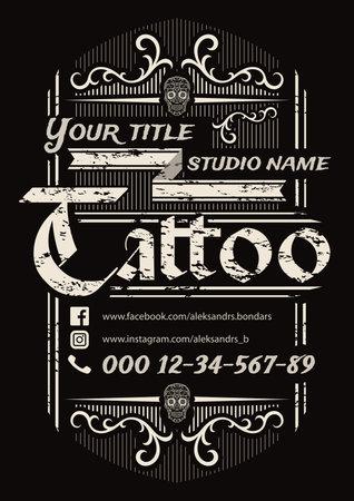 Tattoo studio vintage poster template on black background.