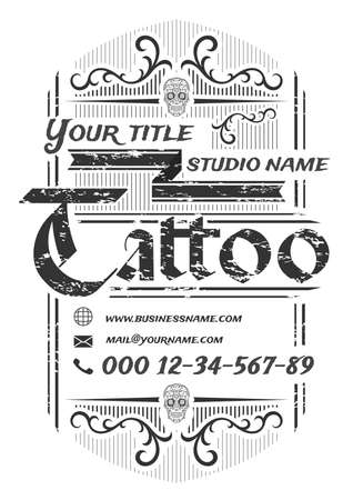 Tattoo studio vintage poster template on white background.