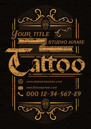 Tattoo studio vintage poster template with skulls and ornaments on black background.