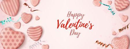 Valentines Day horizontal banner. Pink abstract minimalism wedsite header design. Illusztráció