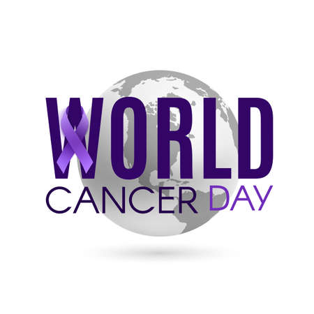 World cancer day background with purple ribbon and earth isolated on white.