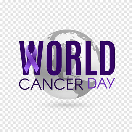 World cancer day background with purple ribbon and earth.