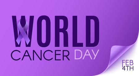 World cancer day purple background template with purple ribbon. Illusztráció