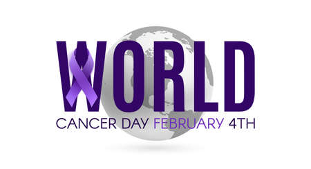 World cancer day poster template with purple ribbon and earth icon.
