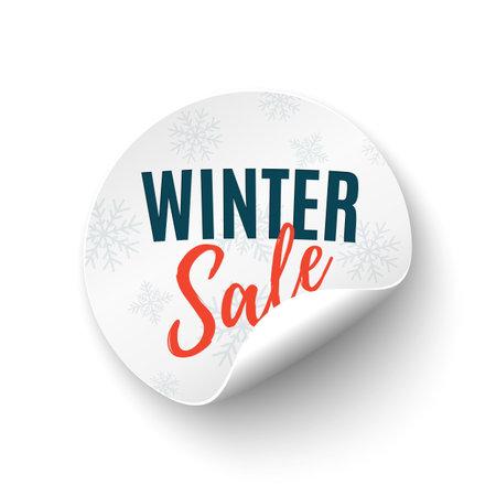 Winter sale round banner. Price tag isolated on white backgound. Illusztráció