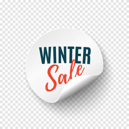 Winter sale round banner. Price tag template. Promotion badge. Illusztráció