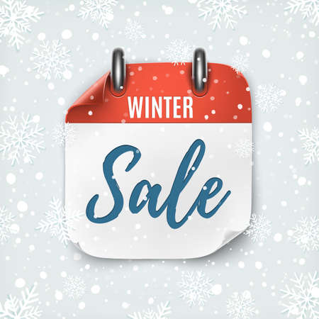 Winter sale. Realistic calendar icon. Background with snow and snowflakes.