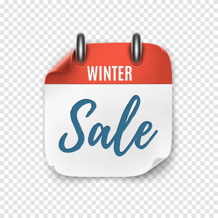Winter sale. Calendar template for your projects. Realistic calendar icon.