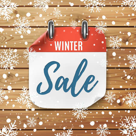 Winter sale. Realistic calendar icon. Wooden background with snow and snowflakes. Illusztráció