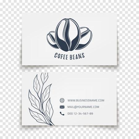 Coffee beans design. Business card template for corporate company. Illusztráció