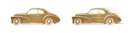 Golden classic car silhouette on white background. Vintage car icon, badge or label design. Illusztráció