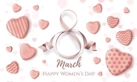 8 march, International Womens day card. Minimalistic web design template. Illusztráció