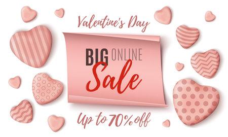 Big Valentines Day online sale background template.