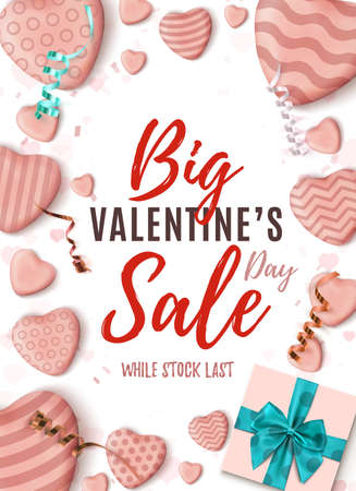 Big Valentines Day sale vertical poster. Abstract design template.