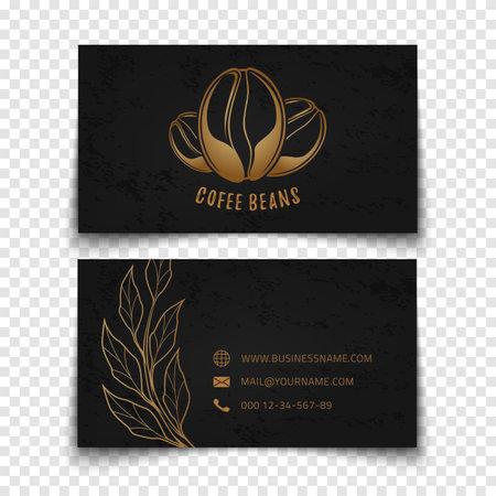 Coffee beans logo design. Black busines card template.