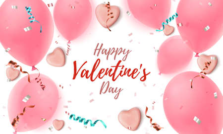 Happy Valentines Day background. Abstract pink greeting card template.