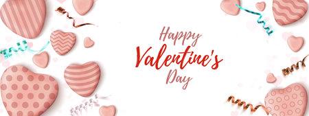 Valentines Day horizontal banner. Abstract minimalism wedsite header design.